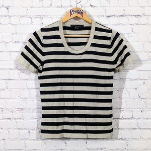 💎 Geoffrey Beene Striped Blouse Black/Tan M